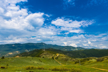 Summer view on georgia mountains. Discover the world of beauty concept