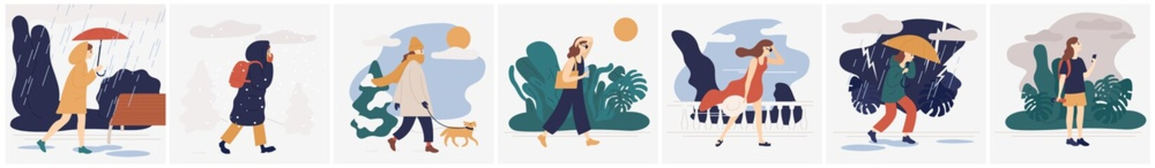 Fototapeta Collection of girl in various weather conditions. Bundle of young woman wearing seasonal clothes and walking on street in rain, snowfall, summer heat. Colorful vector illustration in flat style.