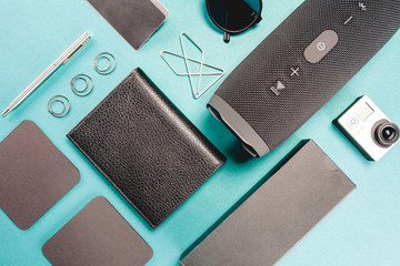 Gadgets and different devices with empty screenes mockup set. Flat lay style.