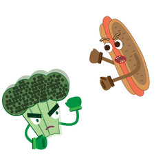 hot dog attacks broccoli fight between vegetables and fast food