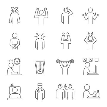Emotional stress linear icons set