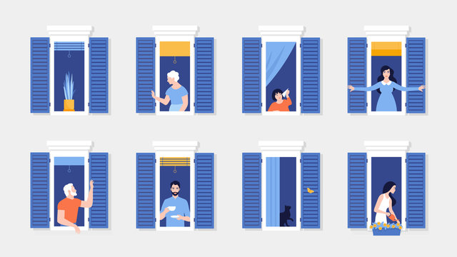 People in window frames . Neighbors that live in apartments. The facade of the house. Vector flat illustration
