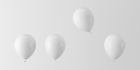 Minimal concept outstanding white balloon floating with white balloons on white background  Fototapete