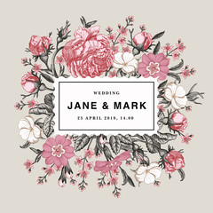 Wedding marriage invitation. Beautiful blooming flowers. Vintage greeting card Frame Drawing engraving Rose agrostemma Croton isolated floral Wallpaper background vector Illustration
