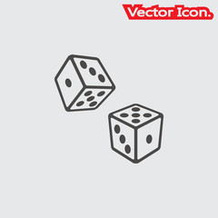 dice icon isolated sign symbol and flat style for app, web and digital design. Vector illustration.