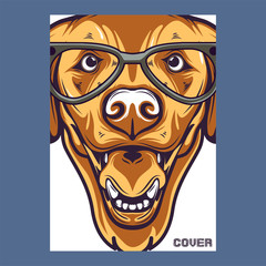 Pug Dog in a glasses. Vector illustration