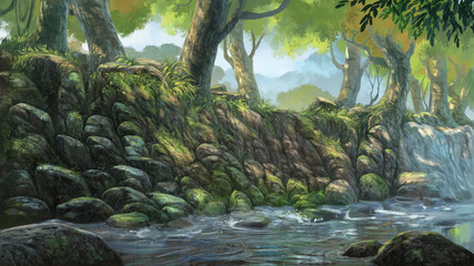 digital painting river in forest illustration background