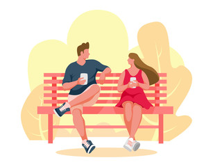 Man and girl sitting on a bench