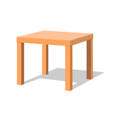 Wooden table vector isolated illustration on white background. table for room design games