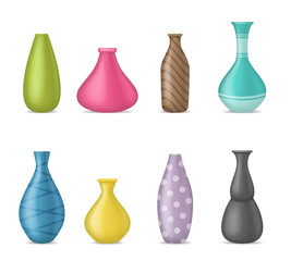 Obraz Realistic 3d Detailed Ceramic Vase Color Set. Vector - fototapety do salonu