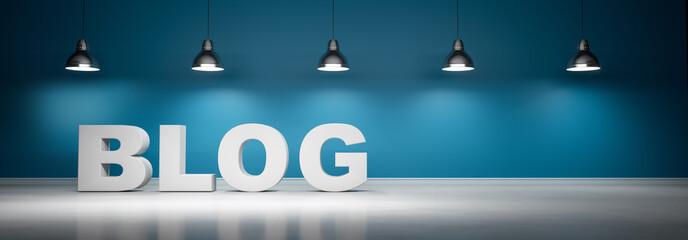 Blog vor blaugrüner Wand mit 5 Lampen