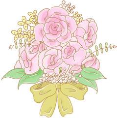 ピンク色のバラのブーケの水彩画風イラスト