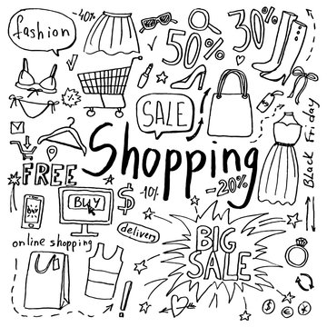 Set of hand drawn doodle shopping and fashion icons. Collection of design elements