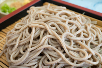 Traditional Japanese meal with cold soba noodles