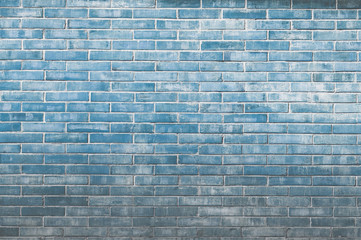 Blue old vintage brick wall background,Decorative brick wall surface for background