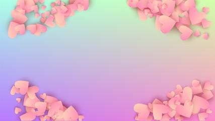 Love Background. Many Random Falling Beautifull Hearts on Hologram Backdrop. Heart Confetti Pattern. Card Template. Vector Love Background.