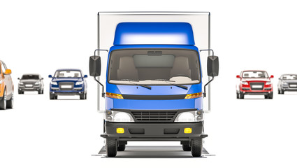 Front View of a Truck with Hatchbacks in the Background 3D Rendering