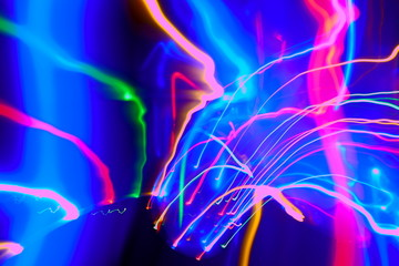 Abstract of Blurry colorful of motions LED lights