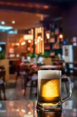 Frosty mug of light beer