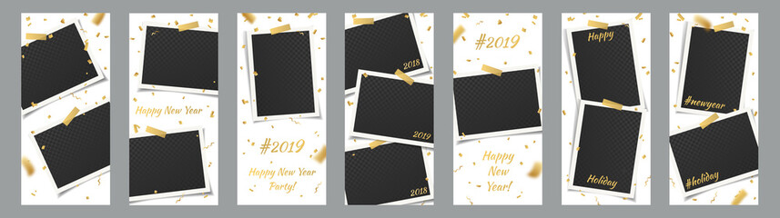 Editable New Year 2019, Holiday Social Network Stories Background Template Set with Photo Frames and Adhesive Tapes, Stickers for Insta Design. Vector Mock up, Story Collection with Golden Confetti.