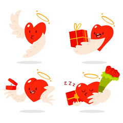 Cute hearts characters with angel wings and halos in different actions: with gift box, flower bouquet and wedding ring. Valentine day vector cartoon concept illustration.