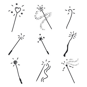 Magic wand doodle set. Vector hand drawn icon collection isolated on a white background.