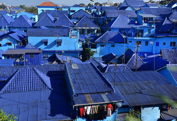 Village Kampung Biru with houses painted in blue color is popular place to visit in Malang City, Java Island, Indonesia