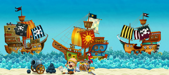 Cartoon scene of beach near the sea or ocean - pirate captain on the shore and treasure chest - pirate ships - illustration for children