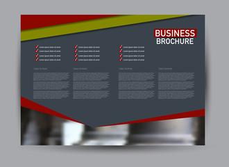 Flyer, brochure, billboard template design landscape orientation for business, education, school, presentation, website. Red and green color. Editable vector illustration.