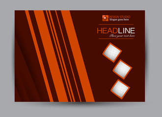 Flyer, brochure, billboard template design landscape orientation for business, education, school, presentation, website. Red and orange color. Editable vector illustration.