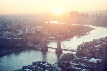 Fotomurales - sunrise, London aerial view with Tower Bridge, UK
