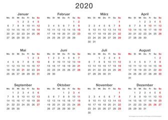 Kalendervorlage 2020, einfach, Querformat