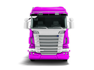 Greater violet truck for transportation of goods for long distances front view 3d render on white background with shadow