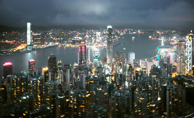 Hong Kong from Victoria peak, ltilt shift photo