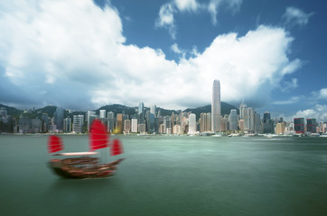 Fototapete - Hong Kong harbour, long exposition