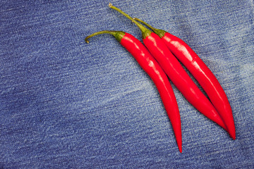 red chili pepper on jeans background