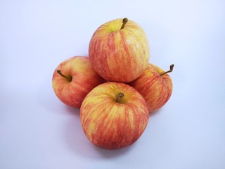 the apples against white background