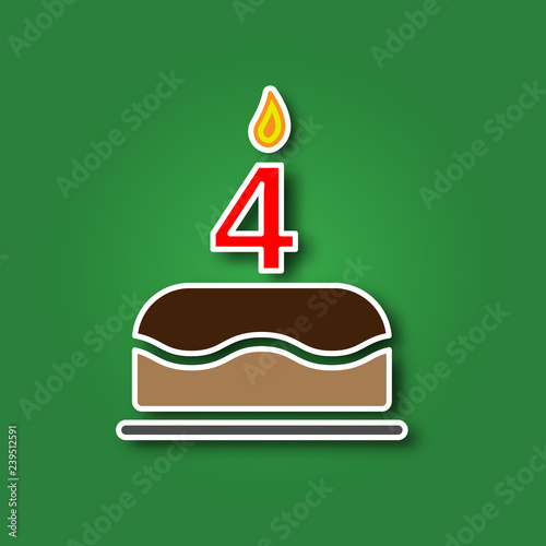 Birthday Cake With A Candle In The Form Of Number 4 Sticker Shadow Icon Happy Concept Symbol Design