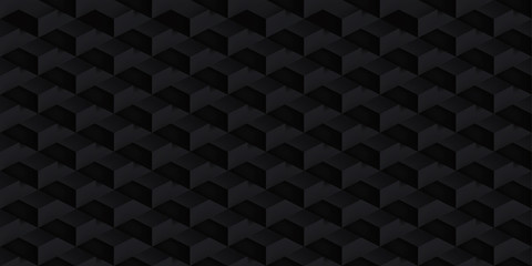 Volume realistic vector cubes texture, dark geometric seamless tiles pattern, design black background for you projects