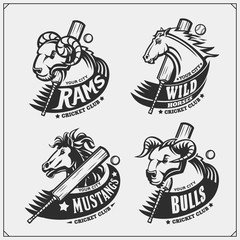 Set of cricket club emblems, labels, badges and design elements with horse, bull and ram. Print design for t-shirts.