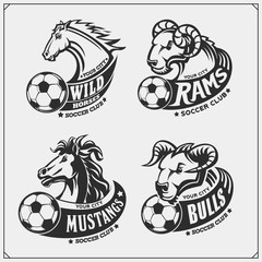 Set of soccer emblems, badges, logos and labels with bull, horse and ram. Print design for t-shirts.