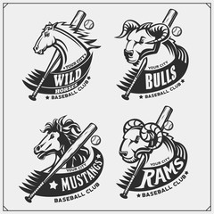Baseball badges, labels and design elements. Sport club emblems with ram, bull and horse. Print design for t-shirts.