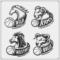Set of basketball emblems, badges, logos and labels with horse, bull and ram. Print design for t-shirts.