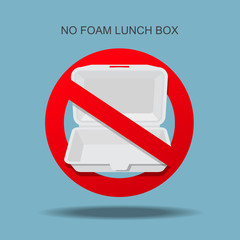No foam lunch box sign vector illustration.