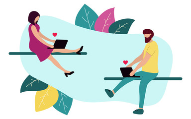 A man and a woman use a laptop. Looking for love. Vector illustration for a dating site. Modern flat design.