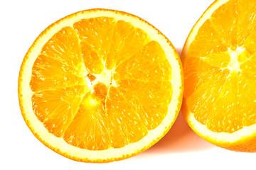 Cut juicy orange isolated on white background