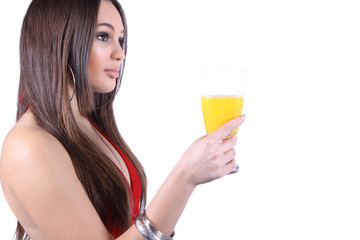 Beautiful young woman with glass of juice, isolated on white background