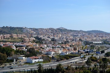 panoramic city view from park in Malaga, Conception garden, jardin la concepcion in Malaga, Spain, botanical garden
