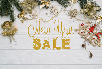 Board with post new year sale