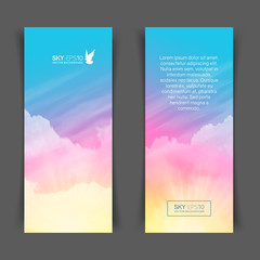 Narrow vertical vector banners with realistic pink-blue sky and cumulus clouds. The image can be used to design a flyer and postcard.